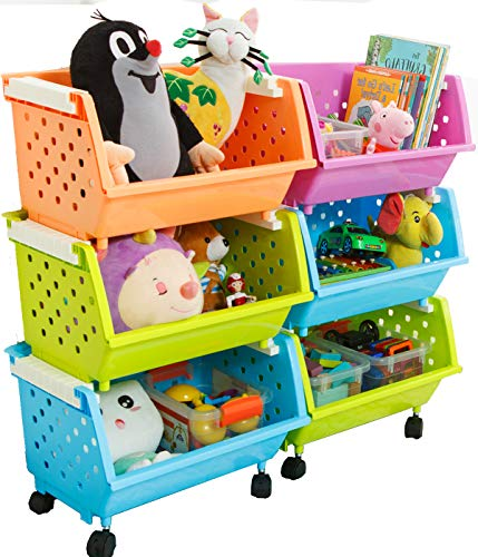 (MAGDESIGNER Kids' Toys Chest Large Baskets Storage Bins Organizer with Wheels Can Move EverywhereNatural/Primary (Primary Collection)(6 Baskets Choose))