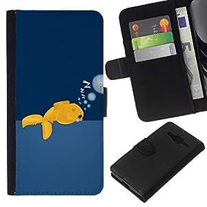 Planetar® Modelo colorido cuero carpeta tirón caso cubierta piel Holster Funda protección Para Samsung Galaxy Core Prime / SM-G360 ( Gold Fish Wild gratuitas de Ocean Swim Burbujas Arte )