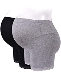 Women's Soft and Seamless Pregnancy Boyshorts Maternity Shapewear Belly Support 2 Pack