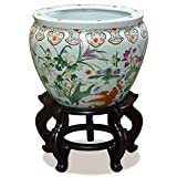 China Furniture Online 14in Porcelain Fishbowl Planter Flower Pot with Floral Motif