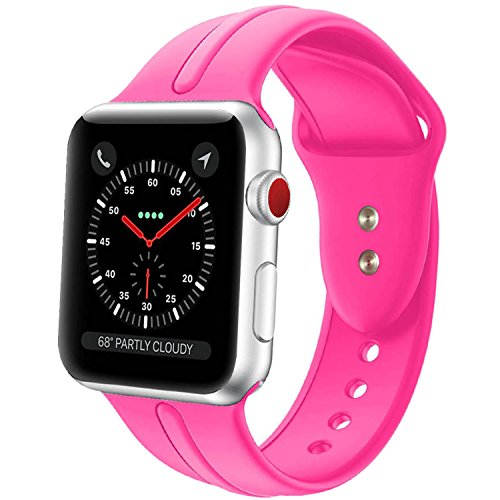 Apple Watch Band Silicone 42mm,Sundo Iwatch Replacement Wrist Strap Bracelet Band for Apple Watch Nike+ Sport Edition Series 1 Series 2 Series 3 (Barbie Pink 42ML)