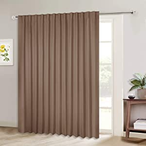 NICETOWN Extra Wide Blackout Patio Blinds, Thermal Blackout Patio Door Curtain Panel, Sliding Door Insulated Curtains with Back Tab for Extra Wide Windows (Cappuccino, 100 inches x 84 inches, 1 Panel)