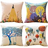 WOLUNWO Throw Pillow Covers 18 x 18 Square Set of 4 Printing Series Couch Decorative Pillow Cases Cotton Linen for Car Sofa Bedroom and Home (Super Thick Adventure)