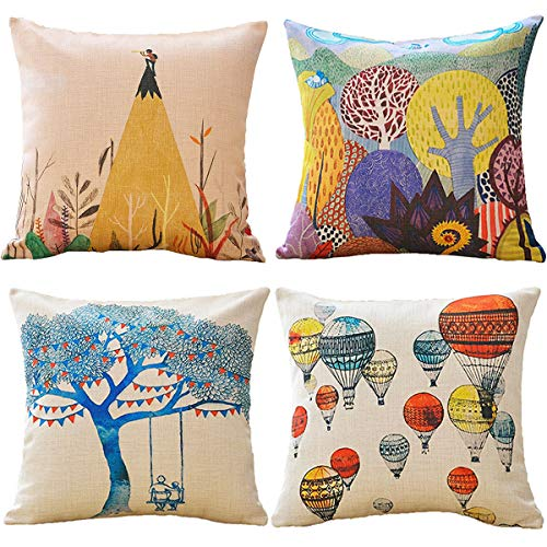 (WOLUNWO Throw Pillow Covers 18 x 18 Square Set of 4 Printing Series Couch Decorative Pillow Cases Cotton Linen for Car Sofa Bedroom and Home (Super Thick Adventure))