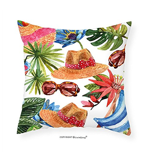 VROSELV Custom Cotton Linen Pillowcase Watercolor Decor Tropic Summer Holiday Beach Themed Travel Charm Coctails Hats Sunglasses Print for Bedroom Living Room Dorm Multi - Jonas Nick Sunglasses