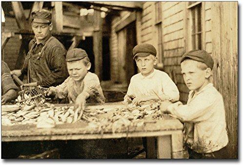 Fish Cutters Child Labor Lewis Hine 1911 8x12 Silver Halide Photo Print
