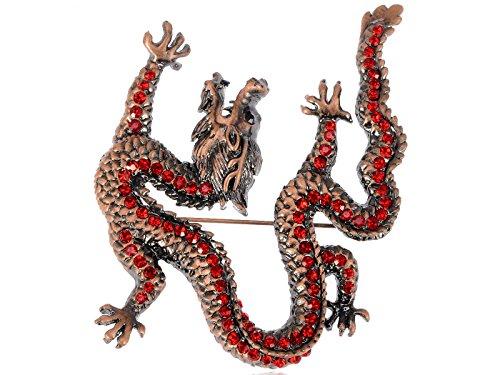 Alilang Gunmetal Tone Light Brown Red Rhinestones Zodiac Chinese Dragon Brooch (Chinese Zodiac Dragon Symbol)