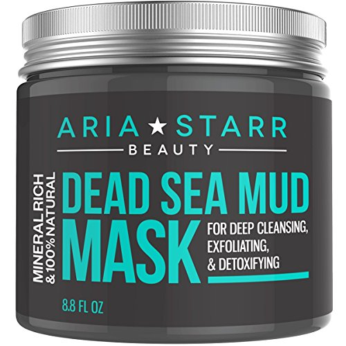 Aria Starr Beauty Dead Sea Mud Mask For Face, Acne, Oily Skin & Blackheads - Best Facial Pore Minimizer, Reducer & Pores Cleanser Treatment - 100% Natural For Younger Looking - Leg Energizing