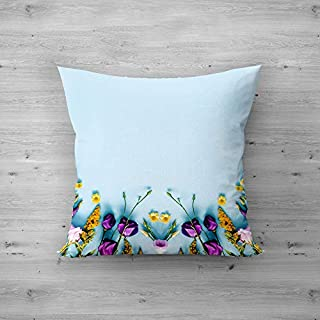51feBKwRHKL. SS320 Square Satin Pillow Flower Designs Printed Cushion Cover