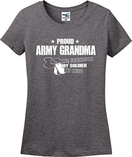 (Proud Army Grandma My Grandson Soldier Hero Ladies T-Shirt (S-3X) (XX-Large, Graphite Heather))