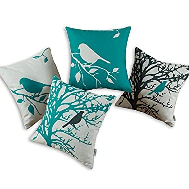 Euphoria CaliTime Throw Pillows Covers Vintage Birds Branches, 18 X 18 Inches, Black Teal, Set of 4