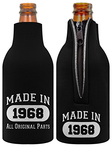 ThisWear 50th Birthday Gift Decoration Bottle Coolie Made 1968 2 Pack Black by ThisWear