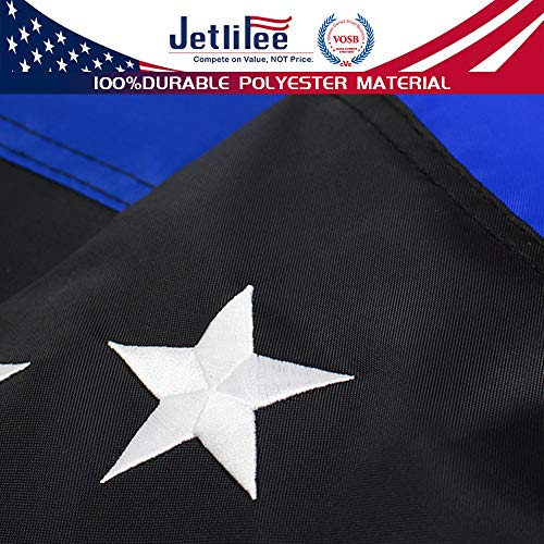 Jetlifee Black White Thin Blue Line American Flag 3x5 Ft by US Veterans Owned Biz. Heavy-Use Nylon Embroidered Stars Sewn Stripes Fast Dry, All Weather USA Flag-Honoring Law Enforcement Officers