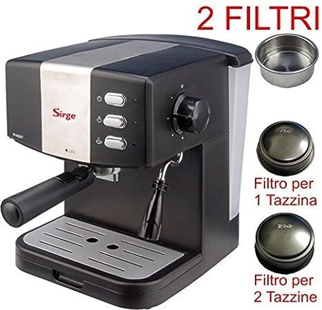Sirge Cafetera Máquina para café espresso para 1 o 2 tazas [2 filtros incluidos]
