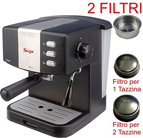 Sirge Macchina per Caffè Espresso per 1 o 2 tazzine [2 FILTRI INCLUSI] e Cappuccino caffè in polvere PRESSIONE 15bar - CALDAIA 850 WATT