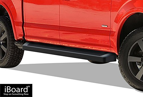 APS iBoard Black Running Boards Style Custom Fit 2015-2019 Ford F150 SuperCrew Cab Pickup 4-Door & 2017-2019 Ford F-250 F-350 Super Duty (Nerf Bars Side Steps Side Bars)