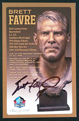 (PRO FOOTBALL HALL OF FAME Brett Favre NFL Bronze Bust Set Card Autographed Limited Edition #31 of 150)