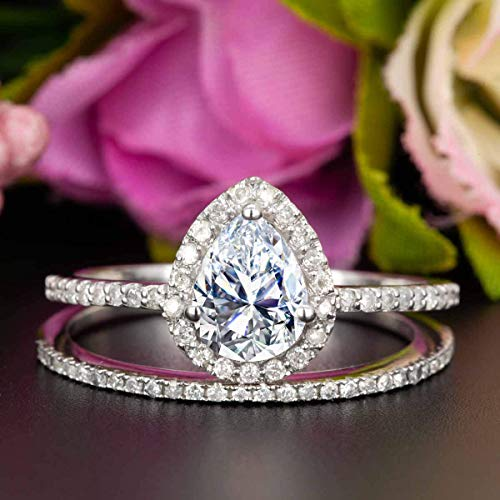 2 Carat Pear Shape Moissanite and Diamond Halo Wedding Ring Set In White Gold