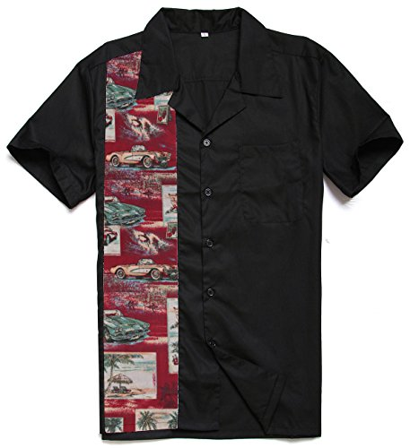- Candow Look Men Retro Shirts Pattern Panel Plus Size XXL Clothes