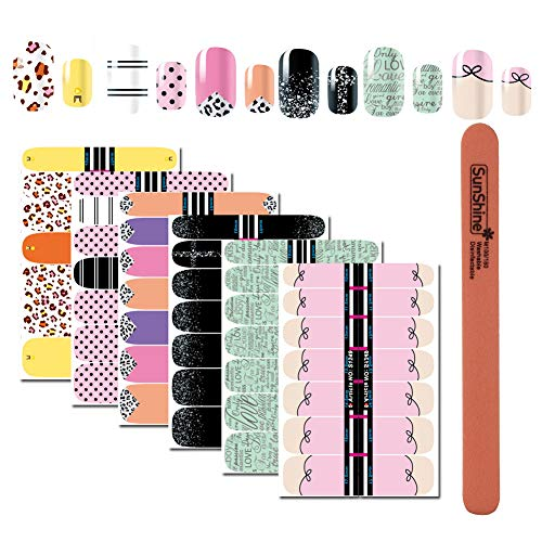 WOKOTO 6Pcs Nail Polish Stickers Decals Wraps Self for sale  Delivered anywhere in USA