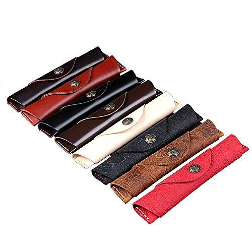 Home Oak Design Single (Oak-Pine Vintage Button Design Leather Single Pen Case Holder Handmade Fountain Pen Pouch Bag Soft Pencil Protective Sleeve Cover, Brown Carving)