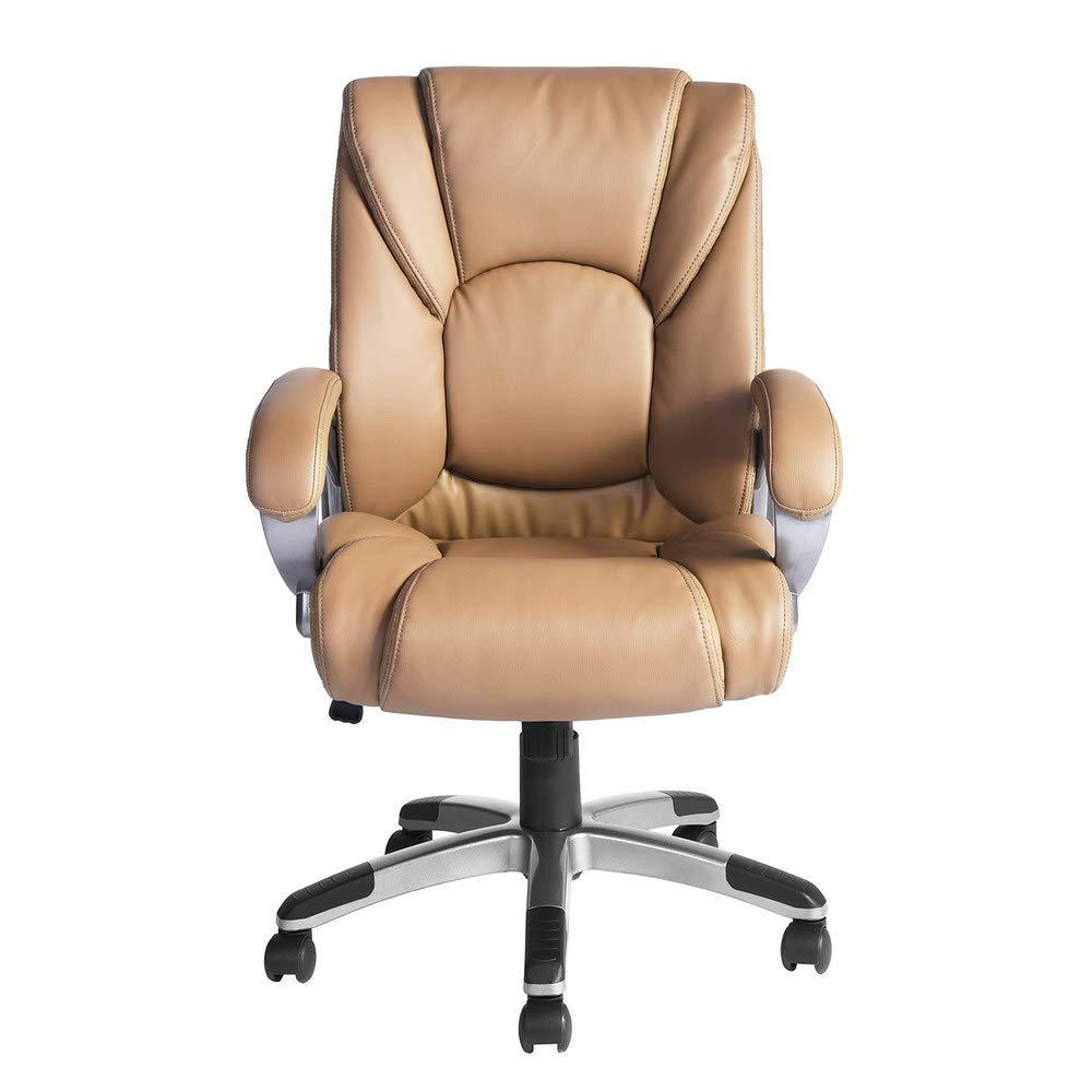 Aingoo Office Chair, Vintage Executive Boss Chair Arm PU Leather High Back Task Chair Adjustable Tilt Lock 360° Swivel Computer Desk Chair (Khaki)