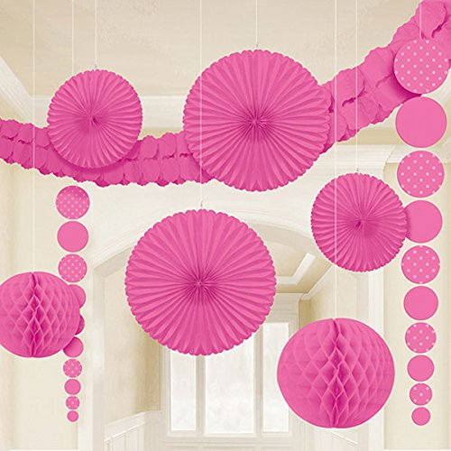 Dainty Polka Dot Party Decorating Kit, Bright Pink, Paper, Pack of 9 (Pink Decorating Kit)