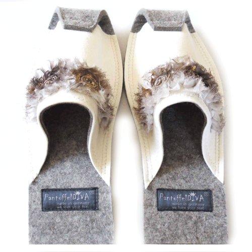 Unisex Blanc 42 Chaussons Pantoffeldiva Femme 38 Pour aqwgpS