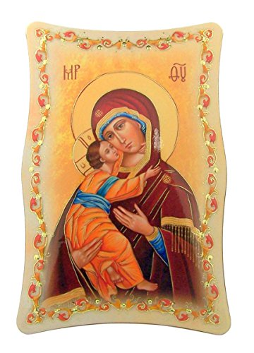Gold Embossed Our Lady of Perpetual Help Icon Plaque with Easel Stand, 5 3/4 Inch