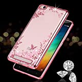 Loxxo® Xiaomi Redmi 6A Back Cover Shockproof Silicone Soft TPU Transparent Auora Flower Case with Sparkle for Redmi 6A (Rose Gold)
