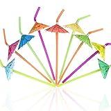 Tomnk 120PCS Umbrella-Shaped Straws Disposable Flexible Drinking Straws Plastic Straws