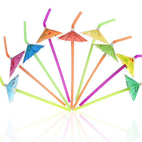 Tomnk 120PCS Umbrella Disposable Bendy Drinking Straws for Luau Hawaii Beach Party -