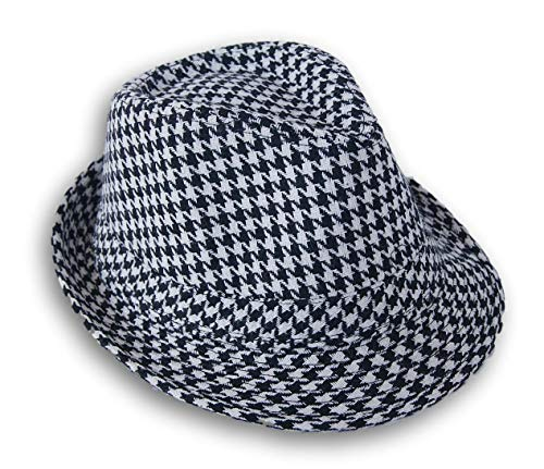 Style Accents Black and White Houndstooth Patterned Fedora - Accent Houndstooth