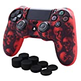 Skin Compatible for PS4 Controller Pandaren Anti-Slip Silicone Cover Skin PS4 Grip Set for PS4 /Slim/PRO Controller(Red Skull Controller Skin x 1 + FPS PRO Thumb Grips x 8)