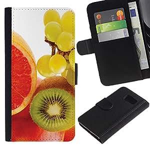 iBinBang / Flip Funda de Cuero Case Cover - Fruta Kiwi Macro de uva - Samsung Galaxy S6 SM-G920