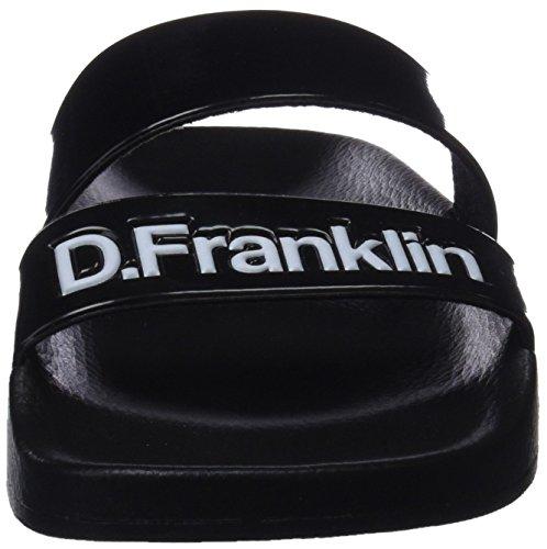 Sandalias Strips Abierta Mujer para Slides D Punta con Franklin Black Negro qFwS6xt7