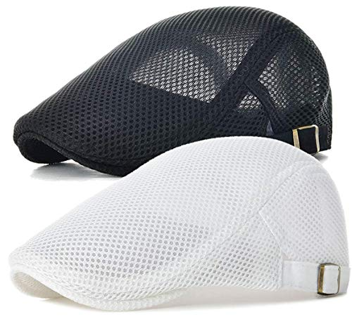 LOKIDVE 2 Pack Men's Mesh Newsboy Ivy Hat Breathable Summer Gatsby Golf Flat Cap Black and White