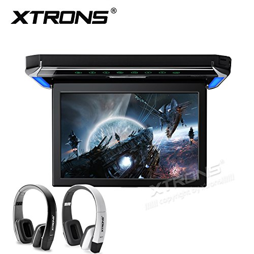 XTRONS 12.1 Inch 1080P Video Car Overhead Player Roof Mounted Monitor HDMI Port New Version IR Headphones(Black&White)