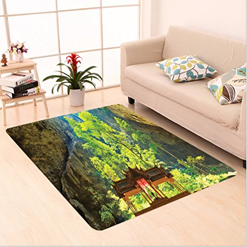 Nalahome Custom carpet rations Latent Pavilion in Between the Cliffs Discovery of Faith in the Nature Art Picture Multi area rugs for Living Dining Room Bedroom Hallway Office Carpet (5' X 8') by Nalahome