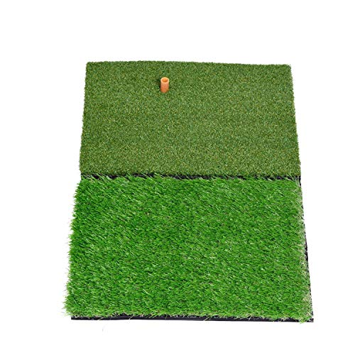 SkyLife Dual-Turf Golf Hitting Grass Mat, Portable Training Fairway Rough Turf, Driving Chipping Golf Equipment, Home Backyard Garage Outdoor Practice (16''x 25'')