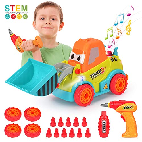 BATTOP Take Apart Toys Car Truck for 3 4 5 Year Old Boys Girls, DIY Toys with Sounds & Lights, Gift for 3-4-5 Year Old Kids