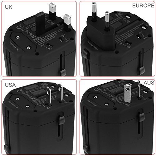 Travel Adapter,UROPHYLLA Universal European Adapter Dual Fuses 2.5A USB Wall Charger Power Adapter cover 150+countries EU US China UK Japan Germany Spain Iceland Italy Russia European Plug Adapter by UROPHYLLA (Image #1)