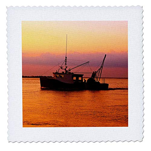 3dRose Stamp City - Transportation - Photograph of a Fishing Boat Heading Home During a Stunning Sunset. - 10x10 inch Quilt Square (qs_302839_1)