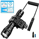 BOODMENT Tactical Flashlight 1200 Lumens LED Light with Picatinny Rail Mount for Airsoft Rifle 18650 Rechargeable Battery and Remote Switch Included for Outdoor Hunting Shooting