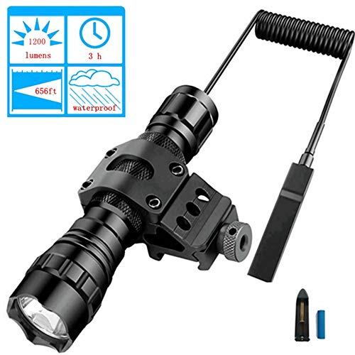 (BOODMENT Tactical Flashlight 1200 Lumens LED Light with Picatinny Rail Mount for Airsoft Rifle 18650 Rechargeable Battery and Remote Switch Included for Outdoor Hunting Shooting)