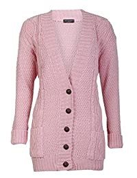 Forever Womens Long Sleeves Plus Size Cable Knitted Grandad Button Cardigan
