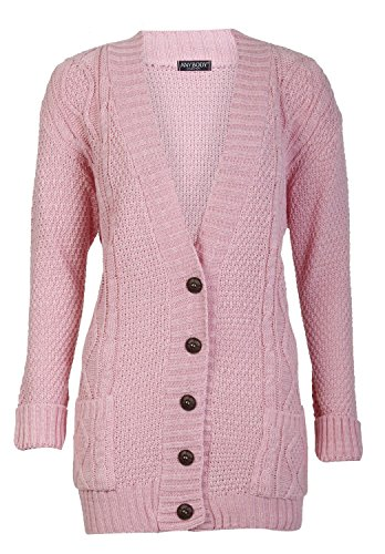 Forever Womens Long Sleeves Cable Knitted Grandad Button Cardigan