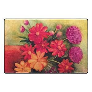 Florencia Beautiful Daisies Tulips geranios alfombrilla antideslizante para Doormats alfombra piso zona alfombra para salón o dormitorio, 31x 20cm