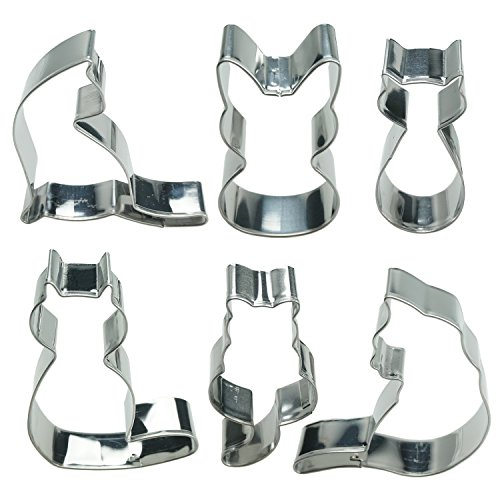 Kitty Cat Cookie Cutter Set Sitting Cat Curled Cat Shape Fondant Classic Cakes Cutters for Kids Party Tin Plated Steel Decoration Tools Set 6 Piece by SHXSTORE (Curled Cat Small)