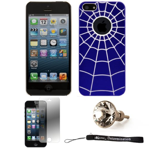 Blue Spider Web Design One-Piece Back Protective Cover For Apple iPhone 5 iOS (6) Smart Phone + Silver Swarovski Crystal Headphone Jack Dust Plug + Apple iPhone 5 Screen Protector + an eBigValue ™ D...